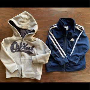 Adidas track jacket and old navy zip up